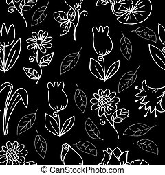 Hand drawing flower seamless pattern background.