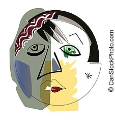 Hand drawing girl face in cubism style.