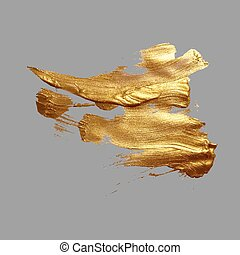 hand drawing gold brush stroke paint spot on a gray background