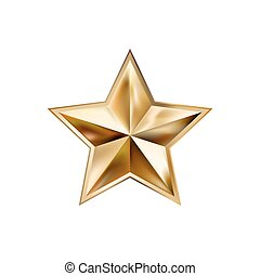 hand drawing gold star with five rays elegant element