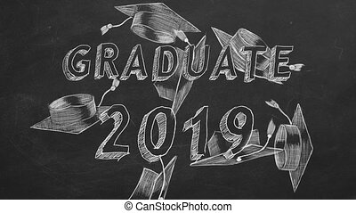 "Graduate 2019 - Hand drawing ""Graduate 2019"" and graduation..."