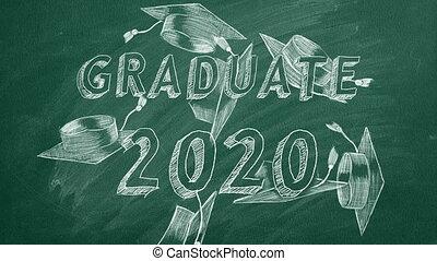 "Hand drawing ""Graduate 2020"" and graduation caps on green chalkboard"