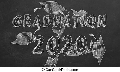 "Hand drawing ""Graduation 2020"" and graduation caps on blackboard"