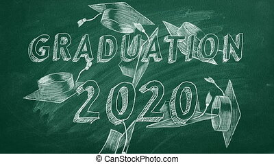 "Graduation 2020 - Hand drawing ""Graduation 2020"" and ..."