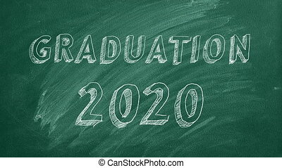 "Graduation 2020 - Hand drawing ""Graduation 2020"" on green ..."