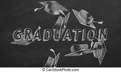 "Hand drawing ""Graduation"" and graduation caps on blackboard"