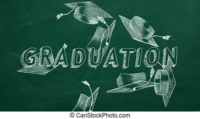 "Hand drawing ""Graduation"" and graduation caps on green chalkboard"