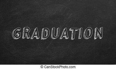"Graduation - Hand drawing ""Graduation"" on blackboard. Stop..."