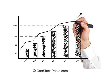 hand drawing graph showing profit growth