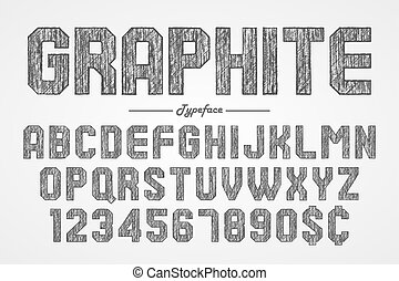 Hand drawing graphite pencil font for chalkboard, pub and bar de