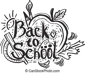 """Hand drawing greeting card """"Back to School"""" with apple,leaf,pencil and sun. Vector illustration"""