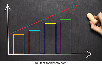 Hand drawing growth graph for business