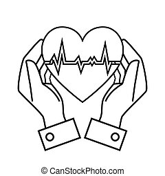 hand drawing hand hold heart rate design vector illustration...