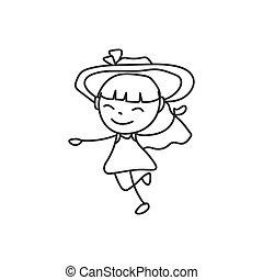 hand drawing happy cute girls line art