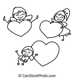 hand drawing happy kids - hand drawing cartoon happy kids