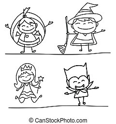 hand drawing happy kids - hand drawing cartoon character...