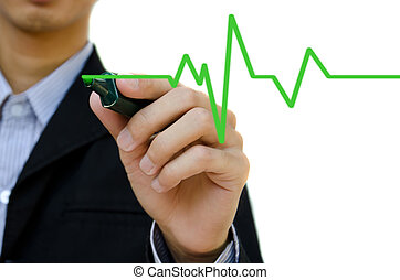 Hand drawing heartbeat symbol.