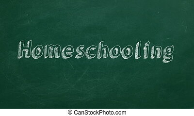 """Hand drawing """"Homeschooling"""" on green chalkboard. Stop motion animation."""