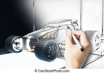 Hand drawing Hot Rod car blueprint