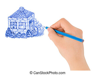Hand drawing house isolated on white background