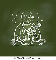 Hand drawing Hungry man on Green board -Vector illustration