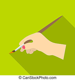 Hand drawing icon, flat style