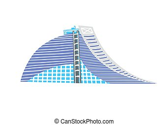 hand drawing icon of modern hotel, vector illustration