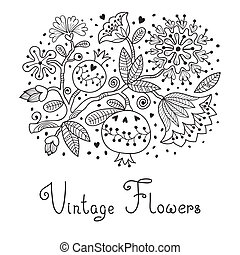 Flowers and pomegranate. - Hand drawing illustration....
