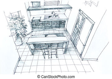 Hand drawing interior - Graphical sketch by pencil of an ...
