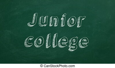 "Hand drawing ""Junior college"" on green chalkboard. Stop motion animation."