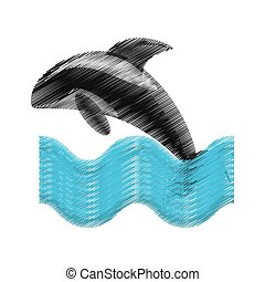 hand drawing killer whale marine wildlife species wave