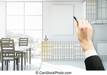 Hand drawing kitchen interior