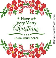 Hand drawing leaf floral frame, template for greeting card of very merry christmas. Vector