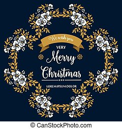 Hand drawing leaf flower frame background, for card template of very merry christmas. Vector