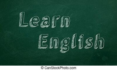 "Learn English - Hand drawing ""Learn English"" on green..."