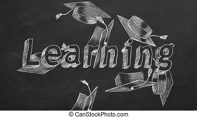 """Hand drawing """"Learning"""" and graduation caps on blackboard"""