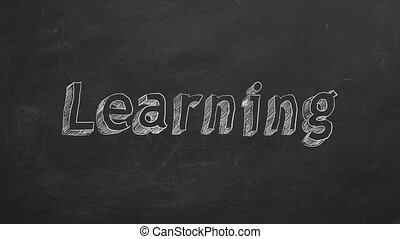 """Learning - Hand drawing """"Learning"""" on black chalkboard. Stop..."""