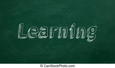 """Learning - Hand drawing """"Learning"""" on green chalkboard"""