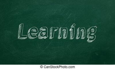 "Hand drawing ""Learning"" on green chalkboard"