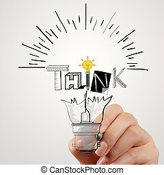 hand drawing light bulb and THINK word design as concept
