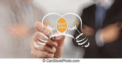 hand drawing Light bulb best idea on white board background ...
