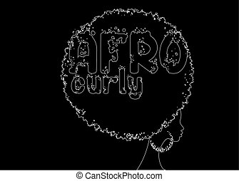 hand drawing line curly afro hair, portrait African Women , dark skin female face with curly hair afro, ethnic traditional earrings, hair style concept, Afro grunge text, vector isolated on black