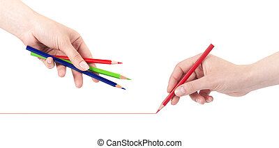 Hand drawing line with pencils isolated