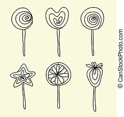 Hand drawing lollipops cartoon doodle - Vector