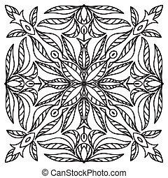 Hand drawing mandala element. Italian majolica style - Hand...