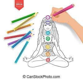 Hand drawing meditating woman and chakras