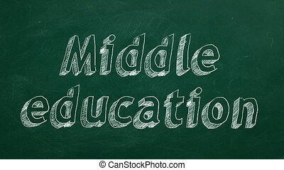 "Middle education - Hand drawing ""Middle education"" on green..."