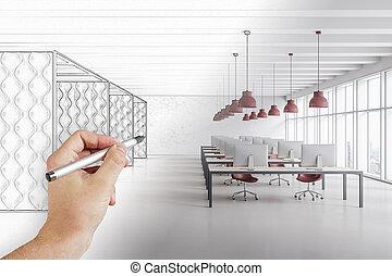 Hand drawing modern office interior hall