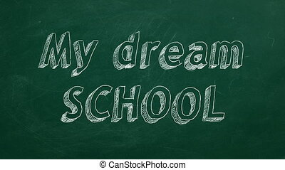 "My dream school - Hand drawing ""My dream school"" on green..."