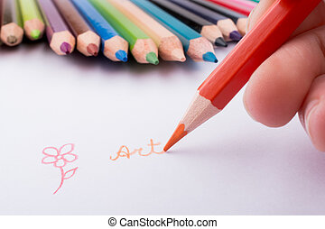 Hand drawing near pencils - Hand drawing near color pencils ...